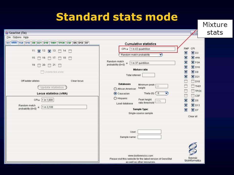 Standard stats mode Mixture stats