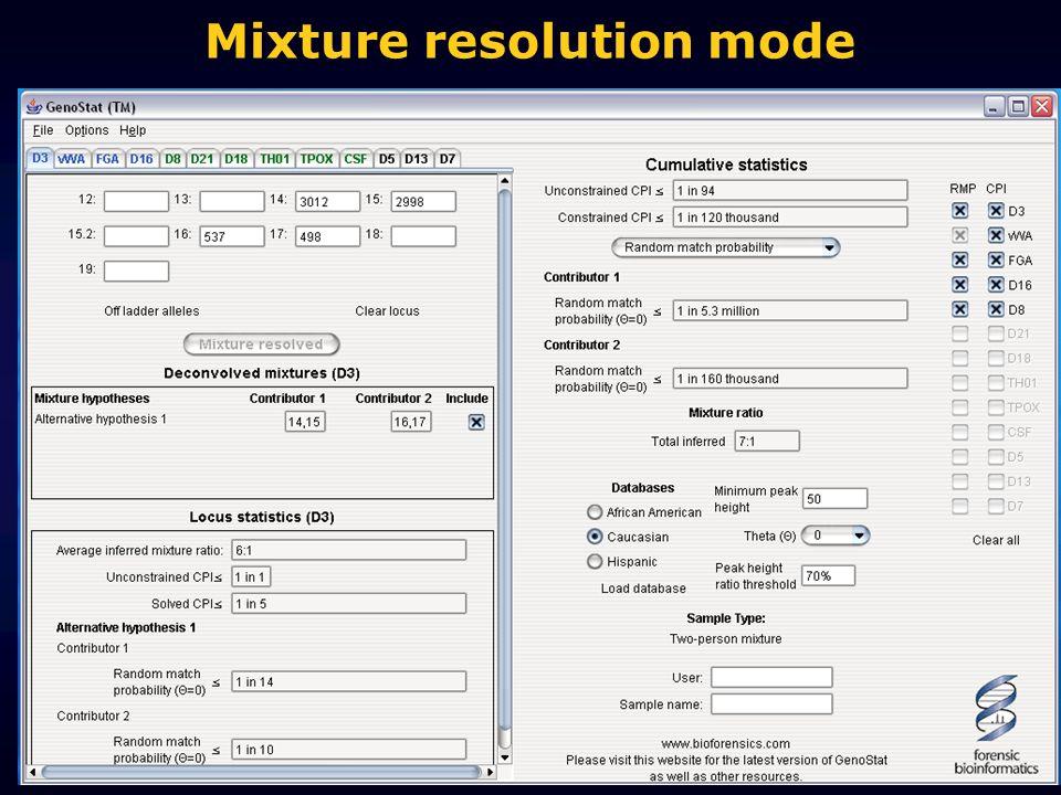 Mixture resolution mode