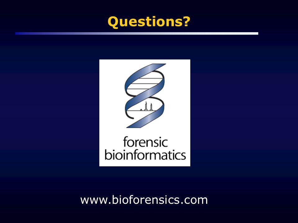 Questions? www.bioforensics.com