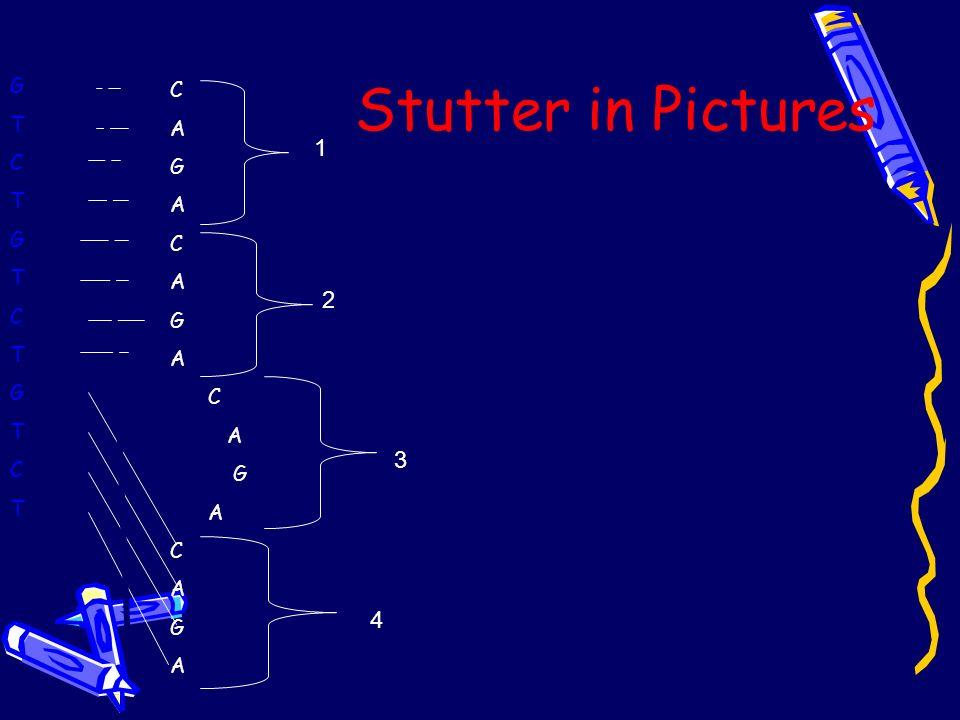 Stutter in Pictures GTCTGTCTGTCTGTCTGTCTGTCT C A G A C A G A C A G A C A G A 1 2 4 3