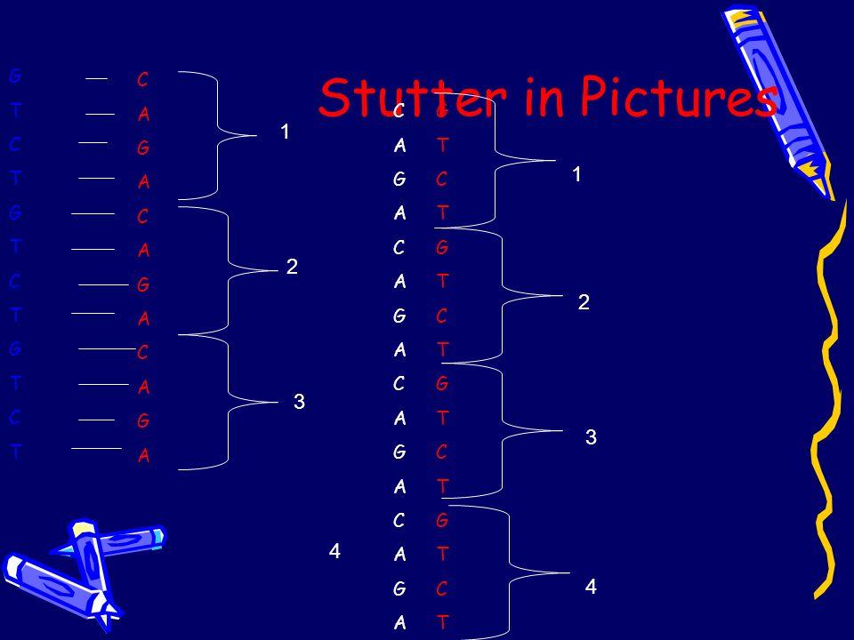 Stutter in Pictures GTCTGTCTGTCTGTCTGTCTGTCT CAGACAGACAGACAGACAGACAGACAGACAGA 1 2 4 3 GTCTGTCTGTCTGTCTGTCTGTCTGTCTGTCT CAGACAGACAGACAGACAGACAGA 4 3 2