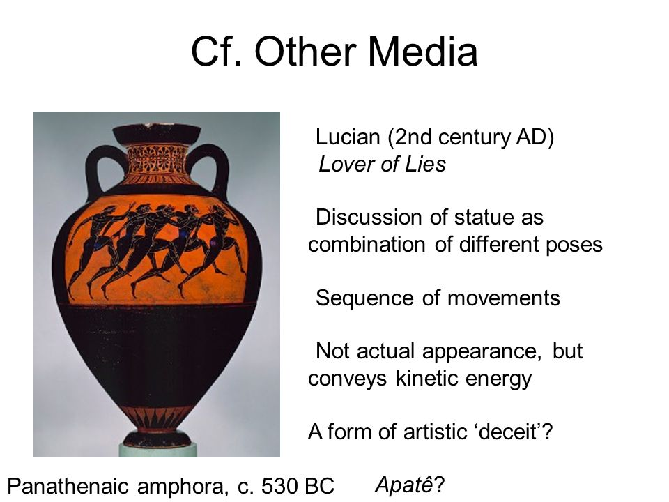 Cf. Other Media Lucian (2nd century AD) Lover of Lies Discussion of statue as combination of different poses Sequence of movements Not actual appearan