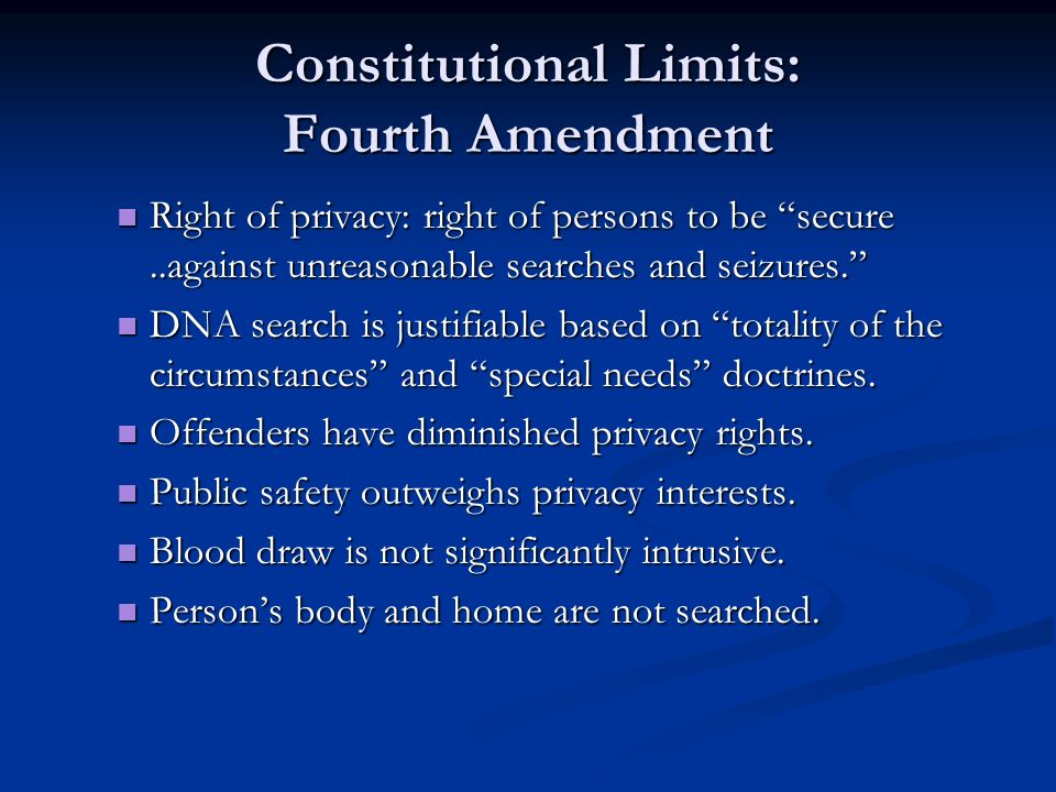 Constitutional Limits: Fourth Amendment Right of privacy: right of persons to be secure..against unreasonable searches and seizures.