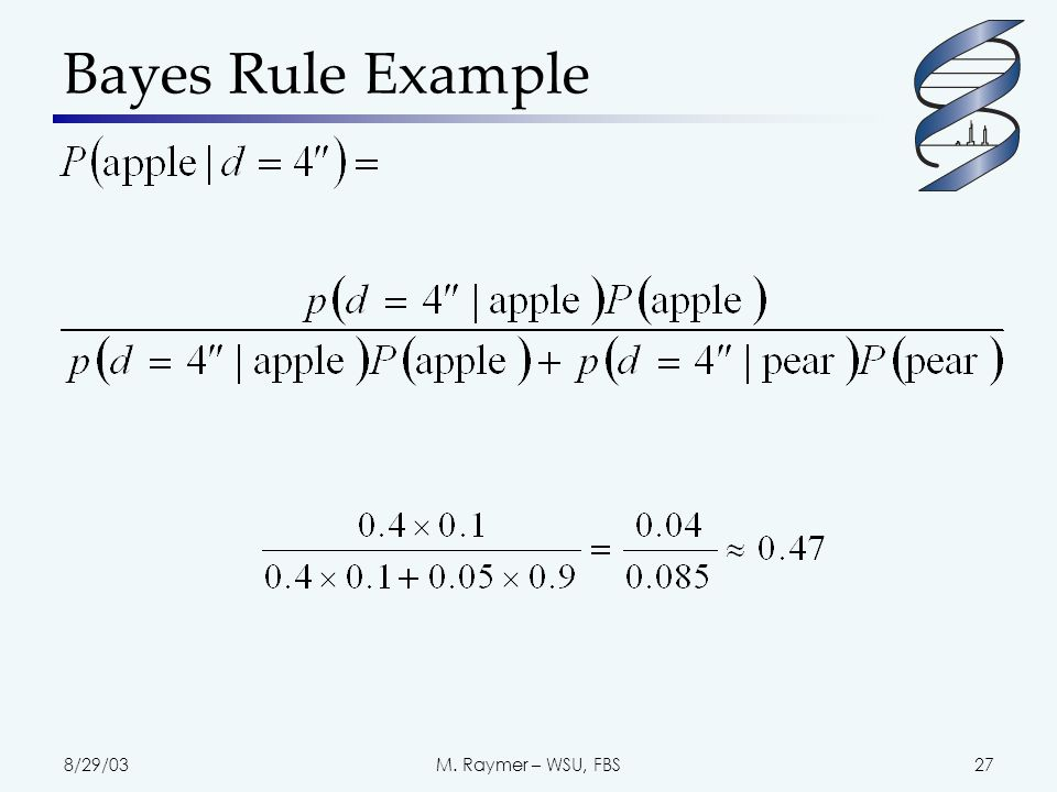 8/29/03M. Raymer – WSU, FBS27 Bayes Rule Example