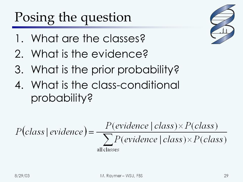 8/29/03M. Raymer – WSU, FBS29 Posing the question 1.What are the classes.