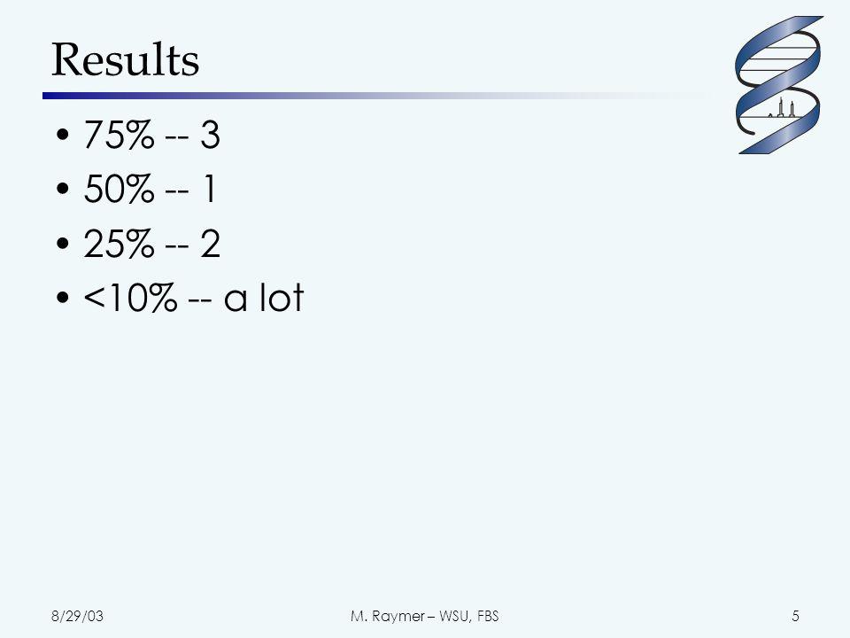 8/29/03M. Raymer – WSU, FBS5 Results 75% -- 3 50% -- 1 25% -- 2 <10% -- a lot