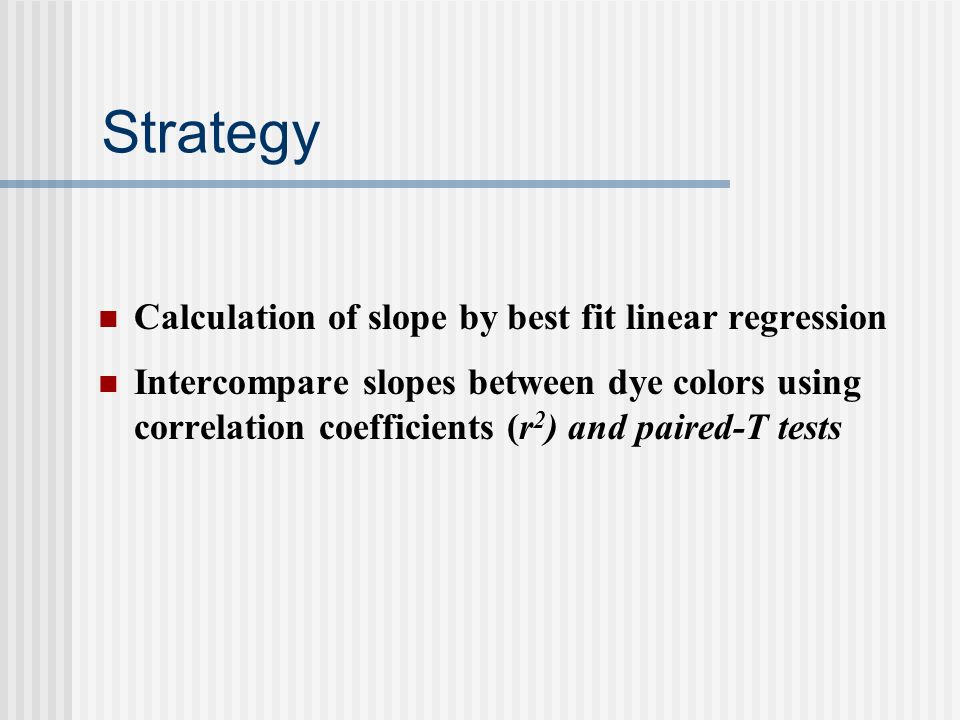 Strategy Calculation of slope by best fit linear regression Intercompare slopes between dye colors using correlation coefficients (r 2 ) and paired-T tests