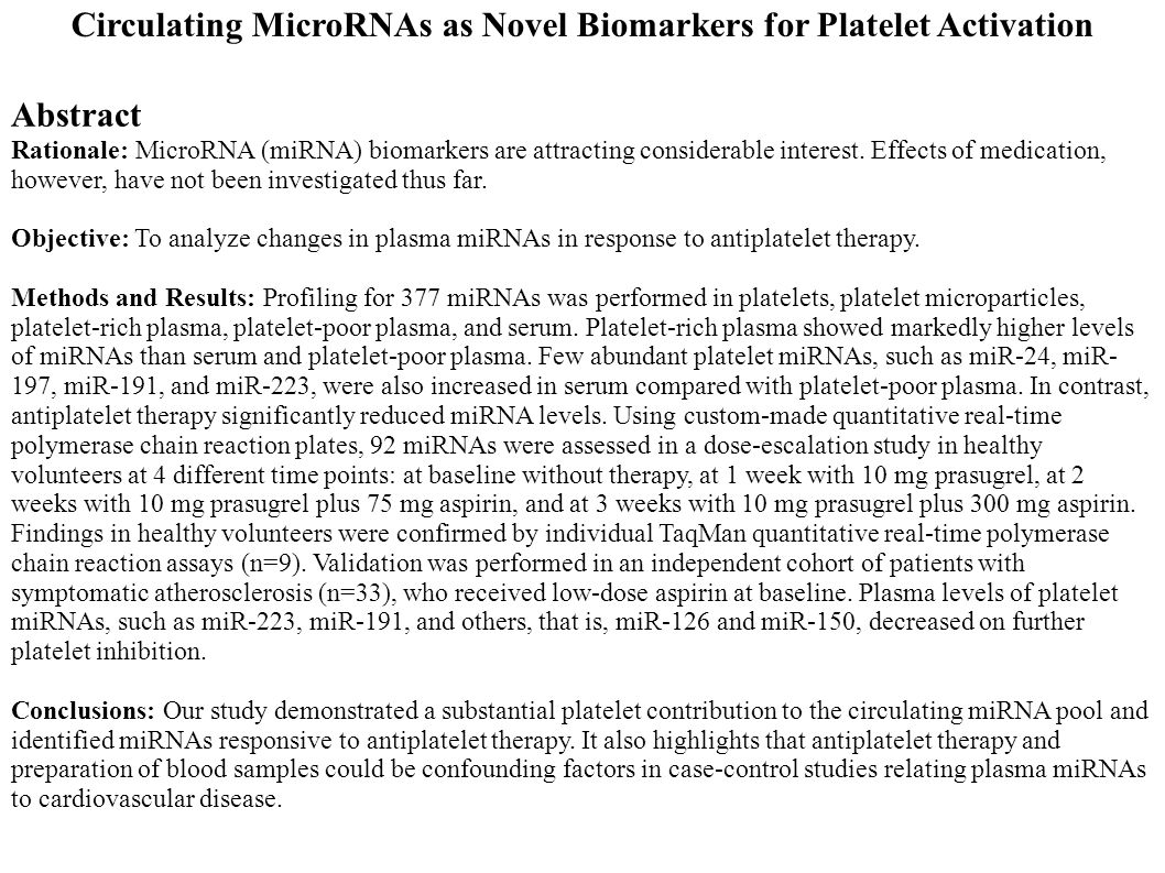 Abstract Rationale: MicroRNA (miRNA) biomarkers are attracting considerable interest. Effects of medication, however, have not been investigated thus