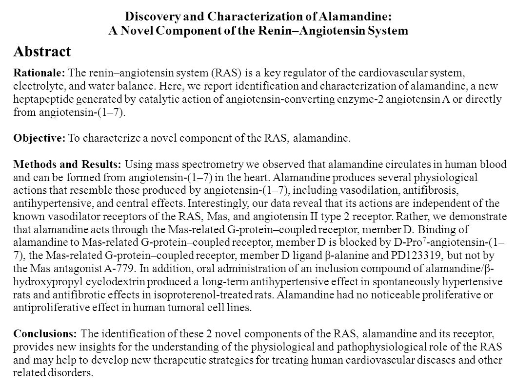 Abstract Rationale: The renin–angiotensin system (RAS) is a key regulator of the cardiovascular system, electrolyte, and water balance. Here, we repor