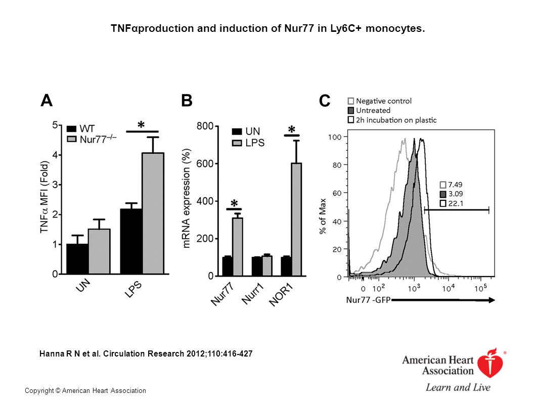 TNFαproduction and induction of Nur77 in Ly6C+ monocytes.