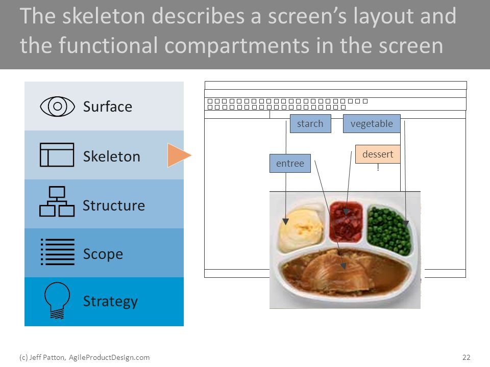 The skeleton describes a screens layout and the functional compartments in the screen 22 Surface Skeleton Structure Scope Strategy starchvegetable ent