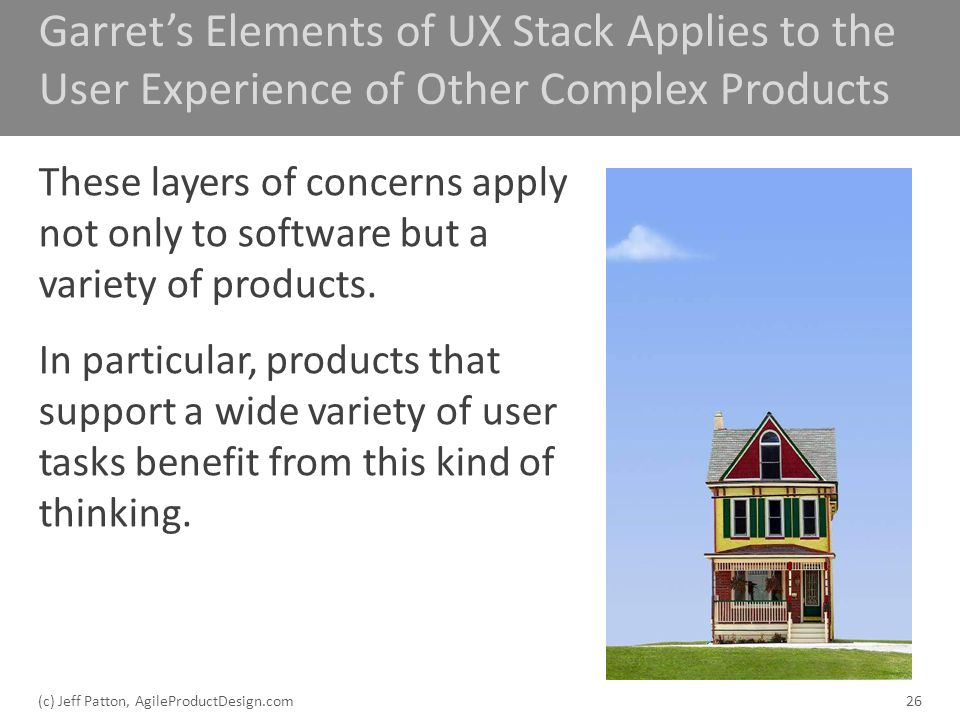 Garrets Elements of UX Stack Applies to the User Experience of Other Complex Products These layers of concerns apply not only to software but a variet