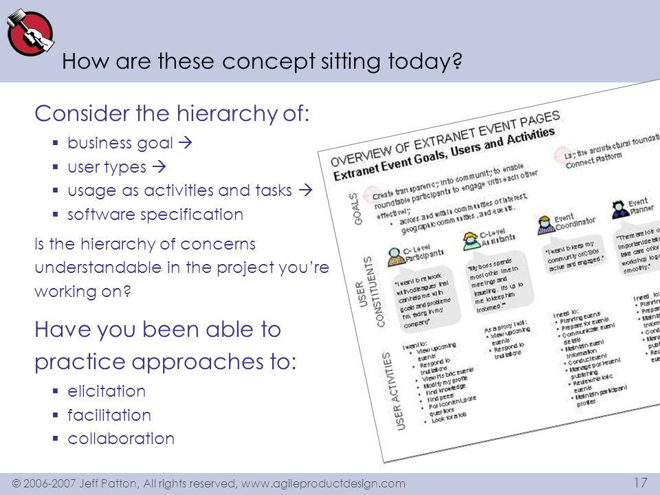 © 2006-2007 Jeff Patton, All rights reserved, www.agileproductdesign.com 17 How are these concept sitting today? Consider the hierarchy of: business g