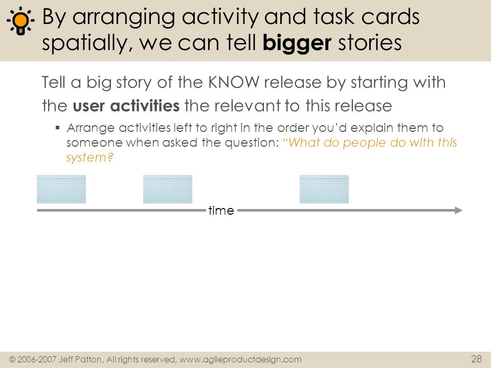 © 2006-2007 Jeff Patton, All rights reserved, www.agileproductdesign.com 28 By arranging activity and task cards spatially, we can tell bigger stories