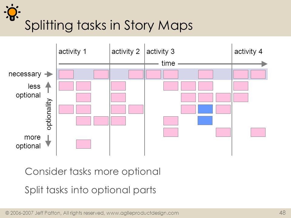 © 2006-2007 Jeff Patton, All rights reserved, www.agileproductdesign.com 48 Splitting tasks in Story Maps Consider tasks more optional Split tasks int