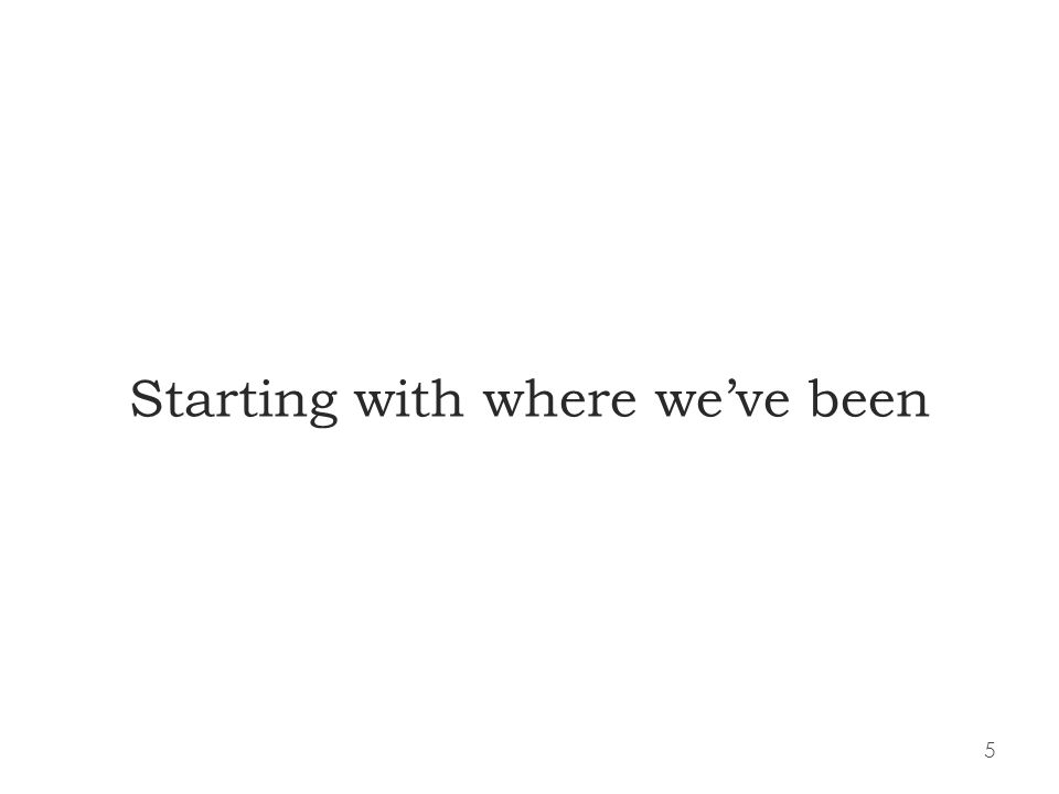 5 Starting with where weve been