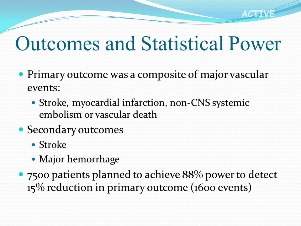 ACTIVE Outcomes and Statistical Power Primary outcome was a composite of major vascular events: Stroke, myocardial infarction, non-CNS systemic emboli