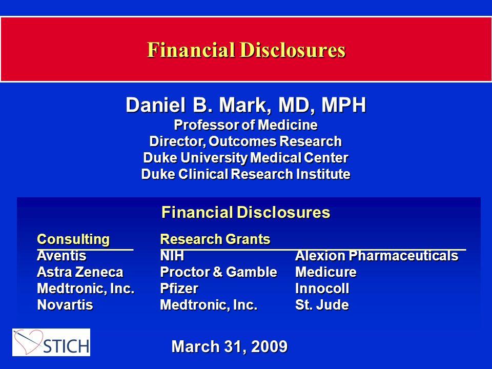 Financial Disclosures March 31, 2009 Daniel B.