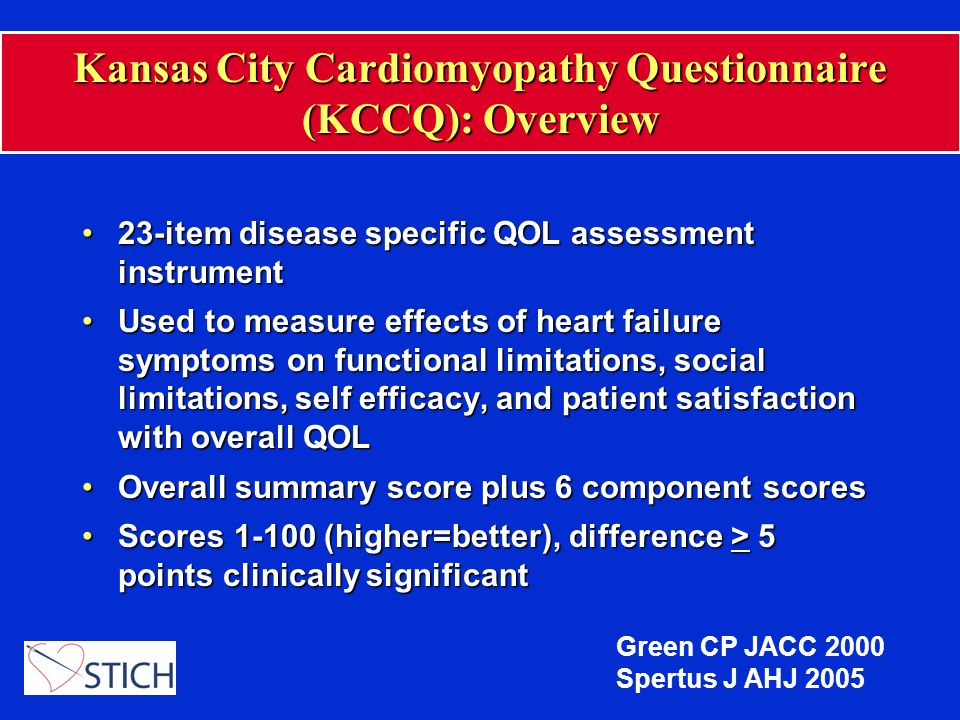 Kansas City Cardiomyopathy Questionnaire (KCCQ): Overview 23-item disease specific QOL assessment instrument23-item disease specific QOL assessment in