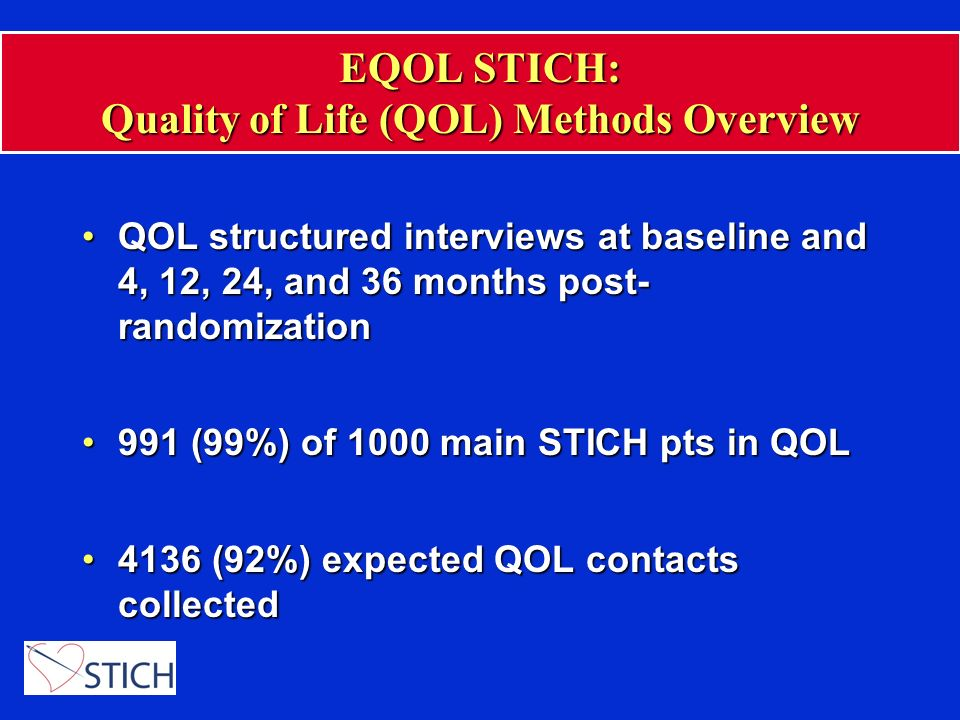 EQOL STICH: Selected QOL Assessment Instruments Instrument Kansas City Cardiomyopathy Questionnaire (KCCQ) Seattle Angina Questionnaire SF-36 scales, SF-12 Center for Epidemiologic Studies -Depression (CES-D) Scale Euro-QoL 5D QOL Domain Heart Failure-specific health status Angina symptoms Psychological well-being (MHI-5), role function, social function, vitality, overall health status Depressive symptoms Patient utilities