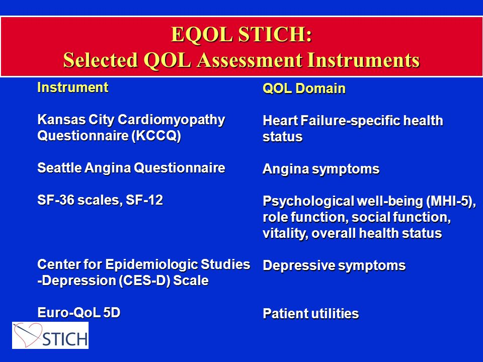 EQOL STICH: Selected QOL Assessment Instruments Instrument Kansas City Cardiomyopathy Questionnaire (KCCQ) Seattle Angina Questionnaire SF-36 scales,