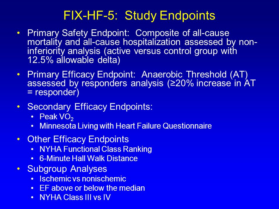 FIX-HF-5: Study Endpoints Primary Safety Endpoint: Composite of all-cause mortality and all-cause hospitalization assessed by non- inferiority analysi