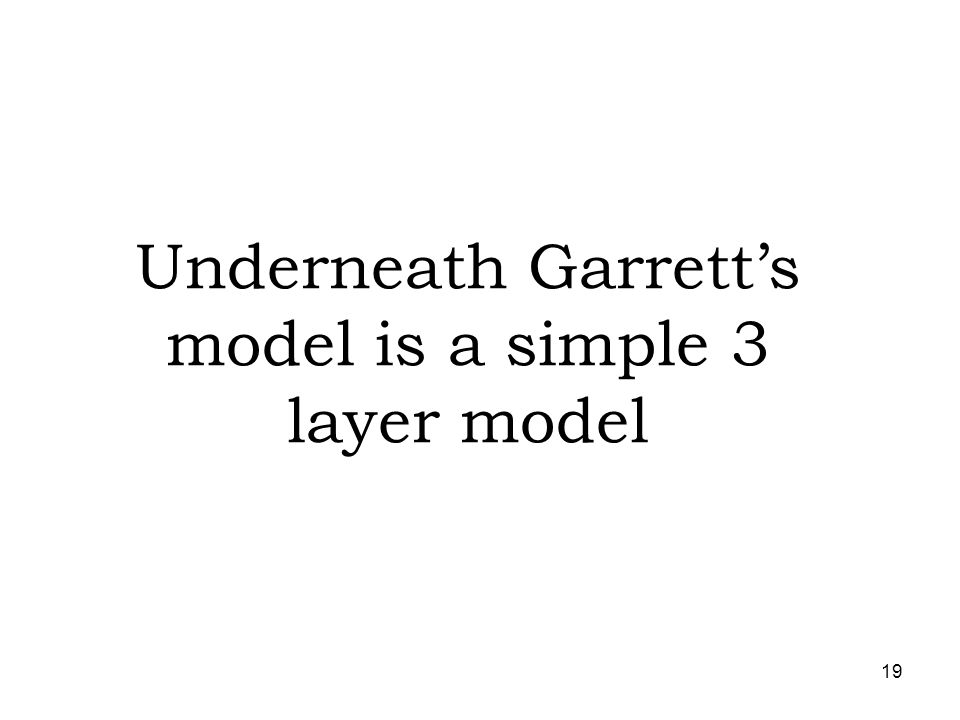 19 Underneath Garretts model is a simple 3 layer model