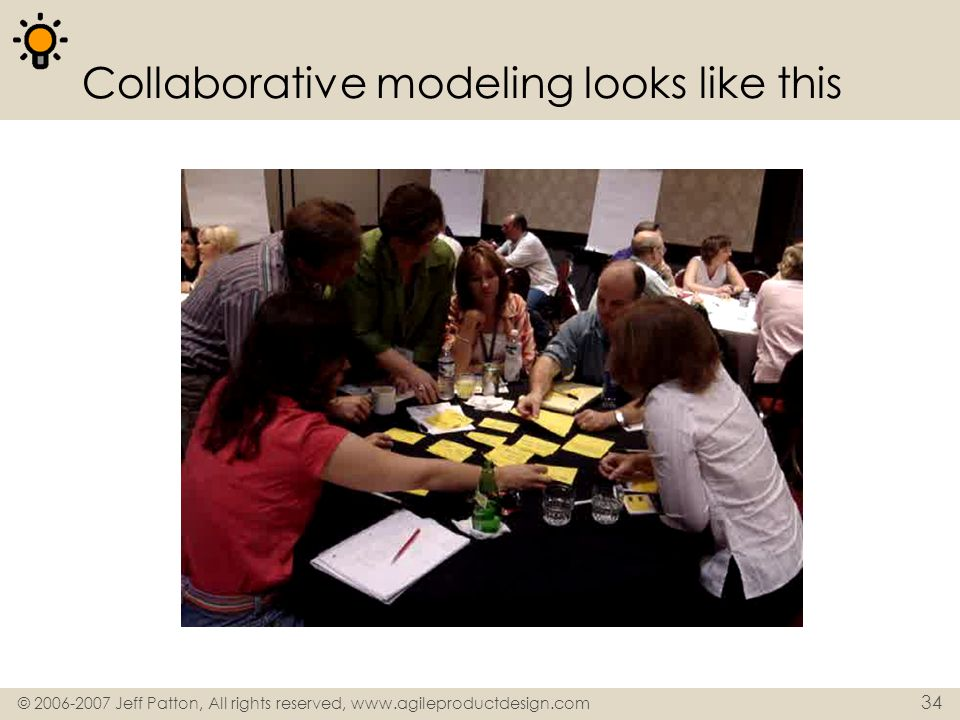 © 2006-2007 Jeff Patton, All rights reserved, www.agileproductdesign.com 34 Collaborative modeling looks like this
