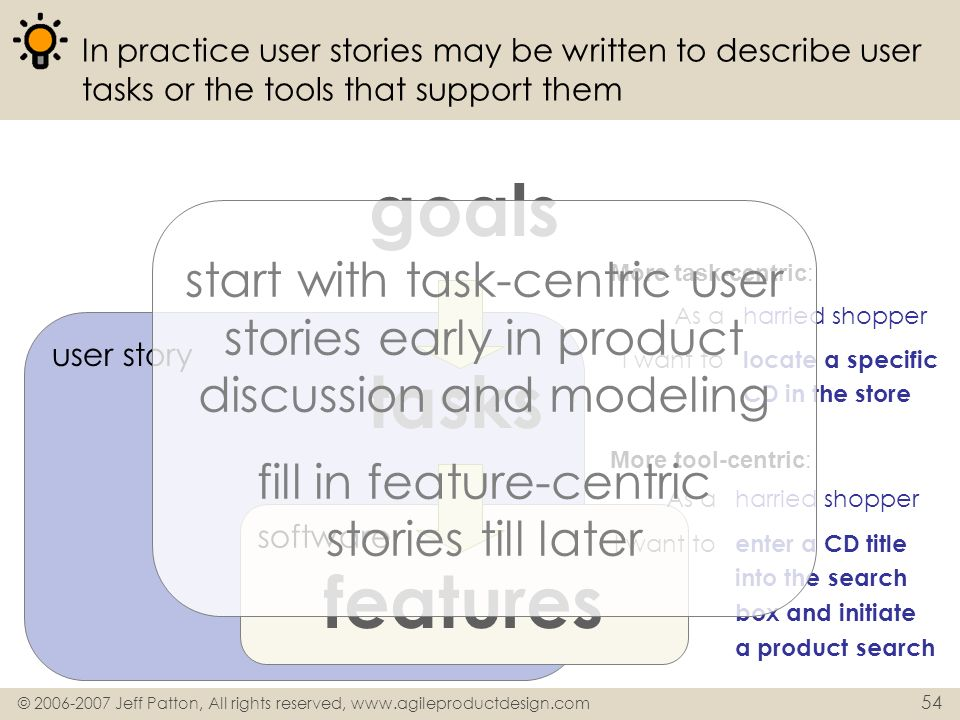 © 2006-2007 Jeff Patton, All rights reserved, www.agileproductdesign.com 54 user story In practice user stories may be written to describe user tasks
