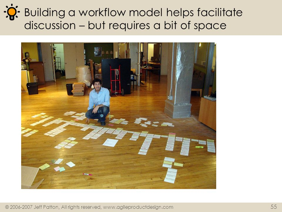 © 2006-2007 Jeff Patton, All rights reserved, www.agileproductdesign.com 55 Building a workflow model helps facilitate discussion – but requires a bit