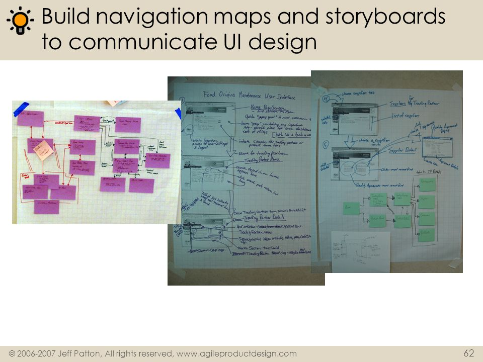 © 2006-2007 Jeff Patton, All rights reserved, www.agileproductdesign.com 62 Build navigation maps and storyboards to communicate UI design