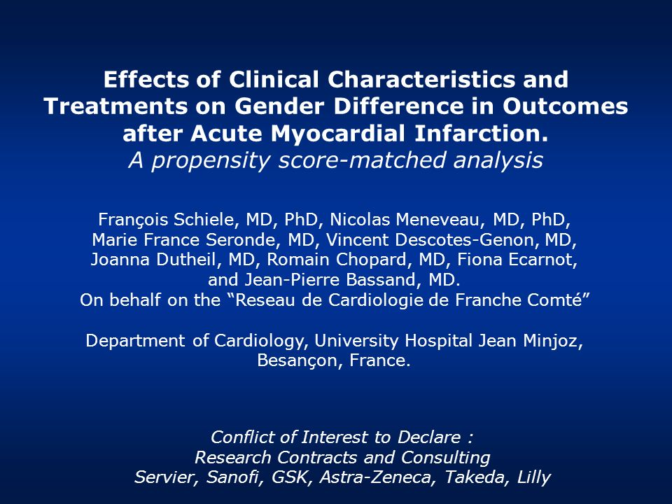 Effects of Clinical Characteristics and Treatments on Gender Difference in Outcomes after Acute Myocardial Infarction. A propensity score-matched anal