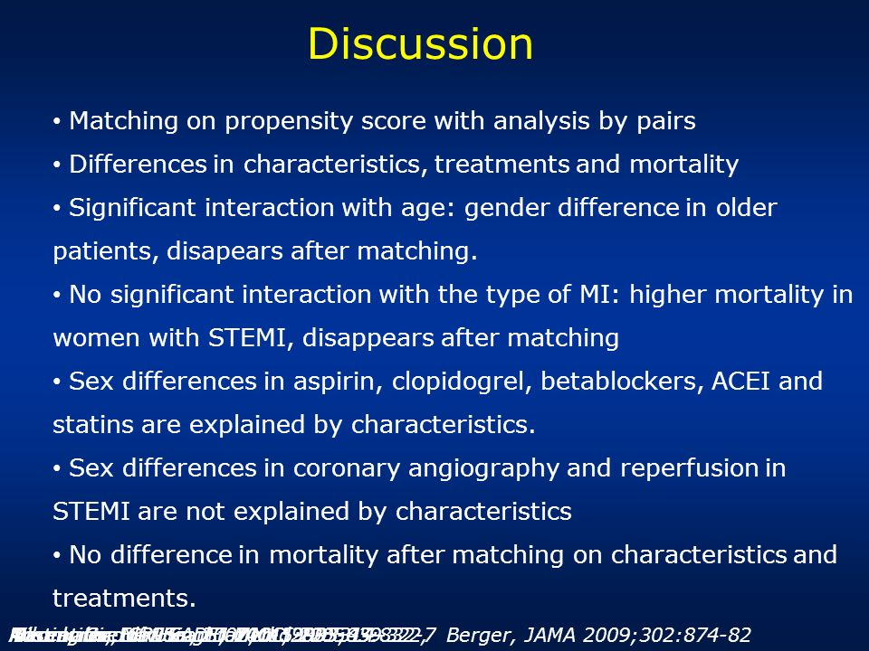 Discussion Matching on propensity score with analysis by pairs Differences in characteristics, treatments and mortality Significant interaction with a
