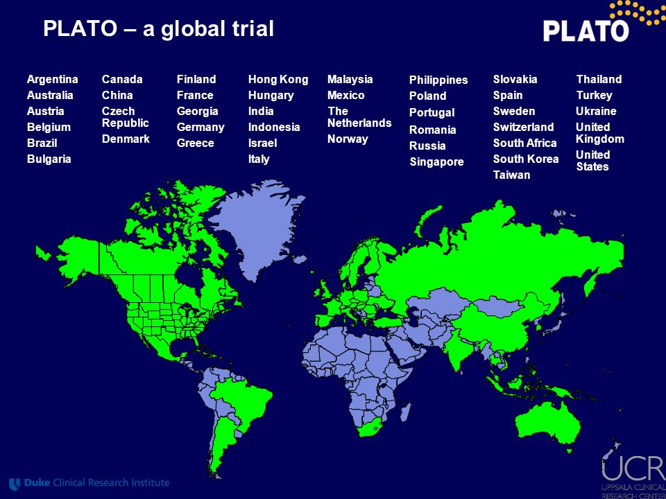 PLATO – a global trial Argentina Australia Austria Belgium Brazil Bulgaria Finland France Georgia Germany Greece Malaysia Mexico The Netherlands Norwa