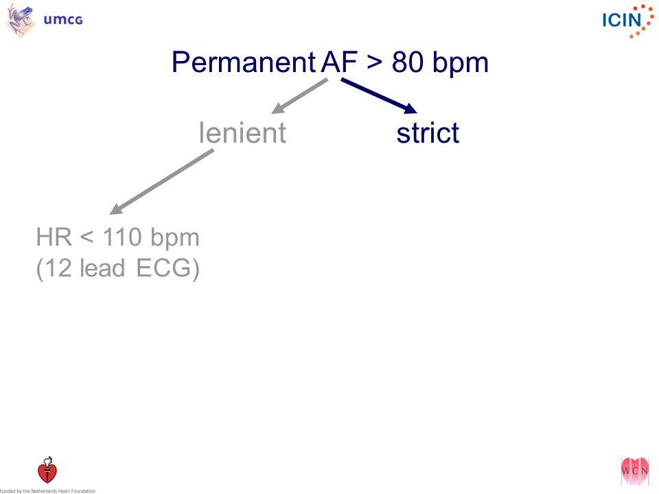 Permanent AF > 80 bpm lenientstrict HR < 110 bpm (12 lead ECG)
