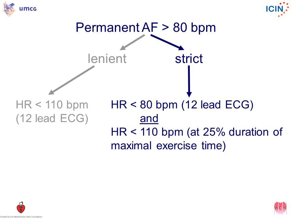 Permanent AF > 80 bpm lenientstrict HR < 110 bpm (12 lead ECG) HR < 80 bpm (12 lead ECG) and HR < 110 bpm (at 25% duration of maximal exercise time)