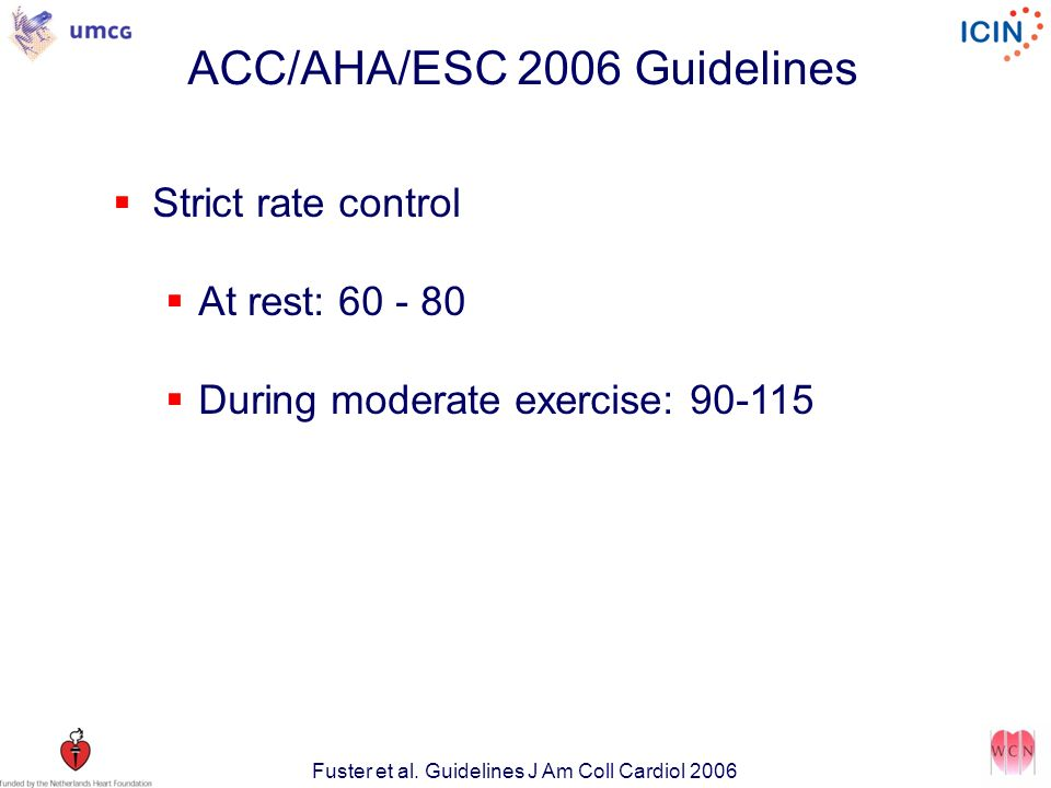 ACC/AHA/ESC 2006 Guidelines Strict rate control At rest: 60 - 80 During moderate exercise: 90-115 Fuster et al.