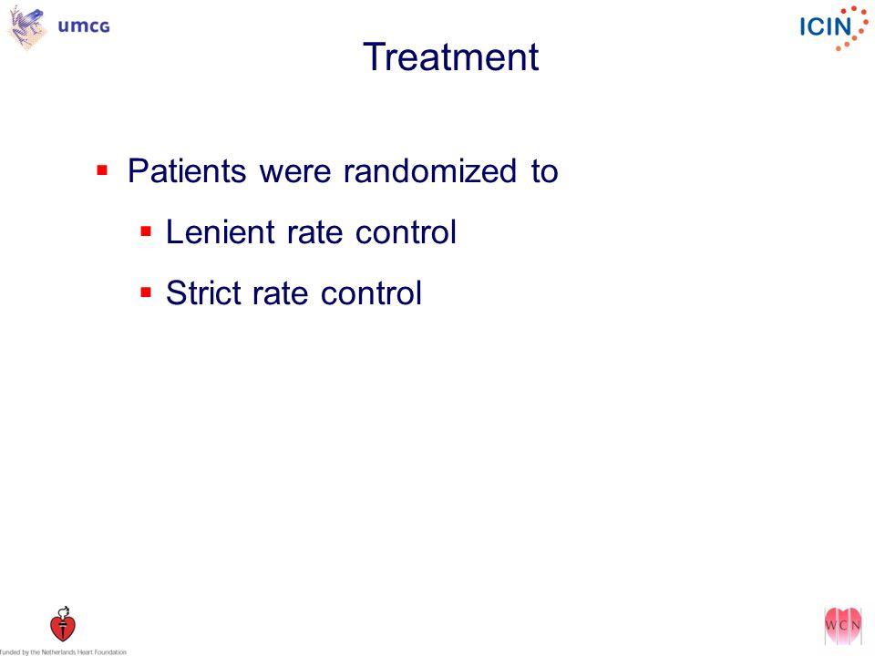 Patients were randomized to Lenient rate control Strict rate control Treatment