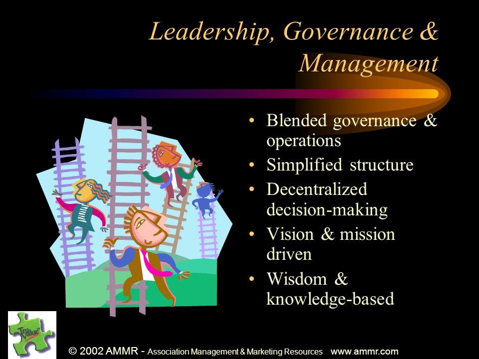 © 2002 AMMR - Association Management & Marketing Resources www. ammr.com Leadership, Governance & Management Blended governance & operations Simplifie