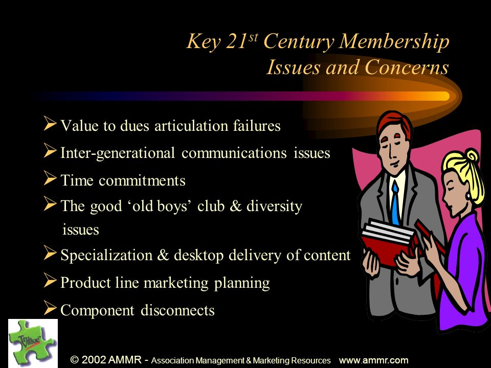 © 2002 AMMR - Association Management & Marketing Resources www. ammr.com Key 21 st Century Membership Issues and Concerns Value to dues articulation f