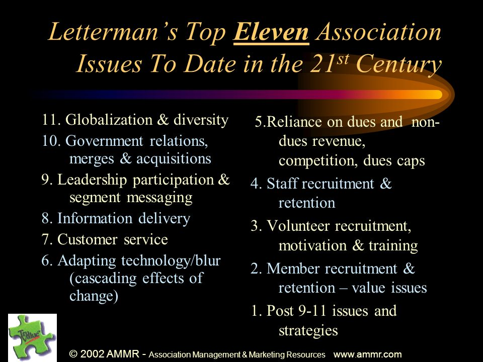 © 2002 AMMR - Association Management & Marketing Resources www. ammr.com Lettermans Top Eleven Association Issues To Date in the 21 st Century 11. Glo