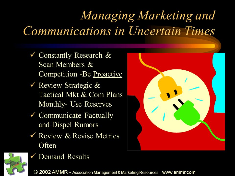 © 2002 AMMR - Association Management & Marketing Resources www. ammr.com Managing Marketing and Communications in Uncertain Times Constantly Research