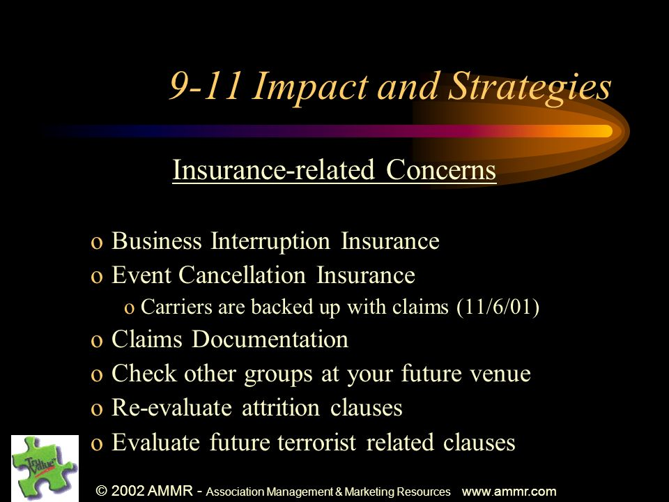 © 2002 AMMR - Association Management & Marketing Resources www. ammr.com 9-11 Impact and Strategies Insurance-related Concerns oBusiness Interruption