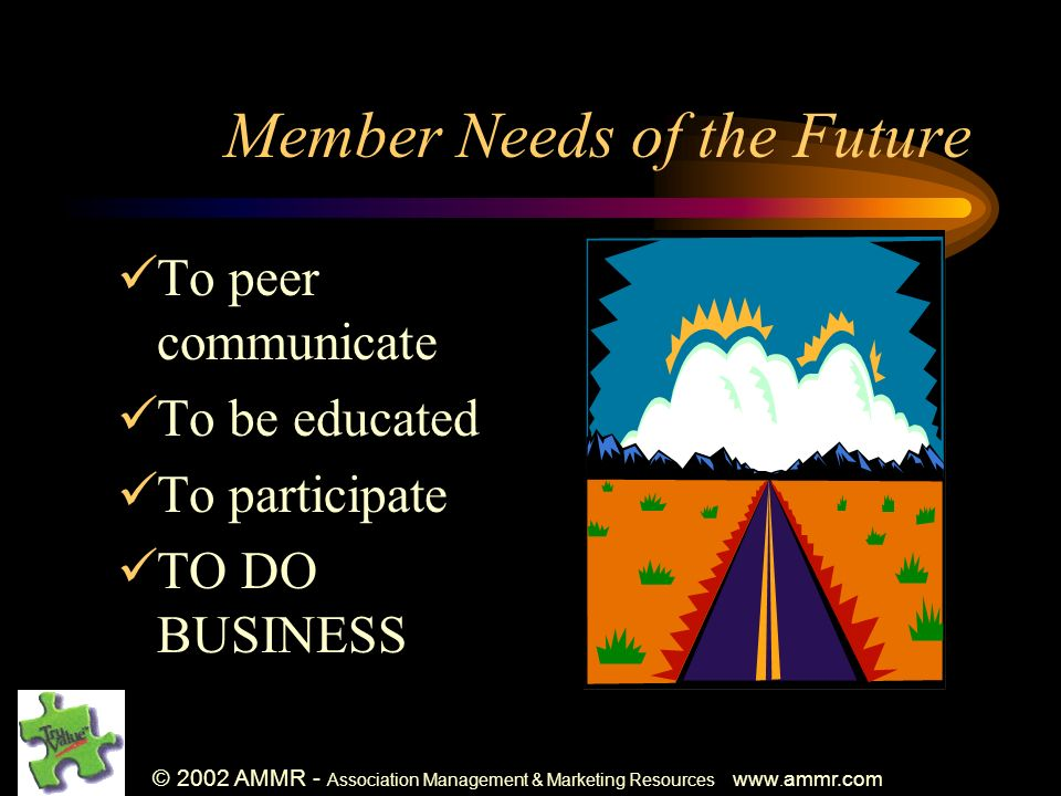 © 2002 AMMR - Association Management & Marketing Resources www. ammr.com Member Needs of the Future To peer communicate To be educated To participate