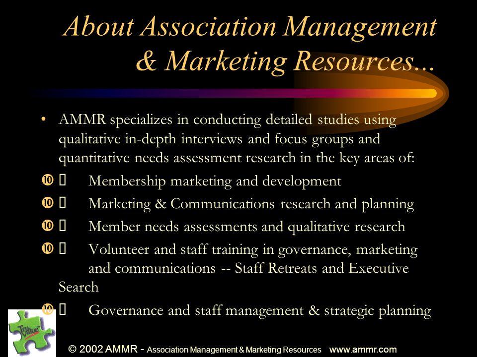 © 2002 AMMR - Association Management & Marketing Resources www.