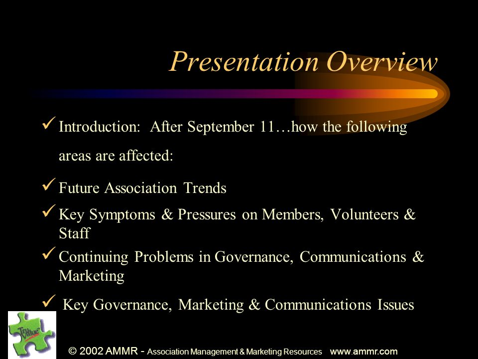 © 2002 AMMR - Association Management & Marketing Resources www. ammr.com Presentation Overview Introduction: After September 11…how the following area
