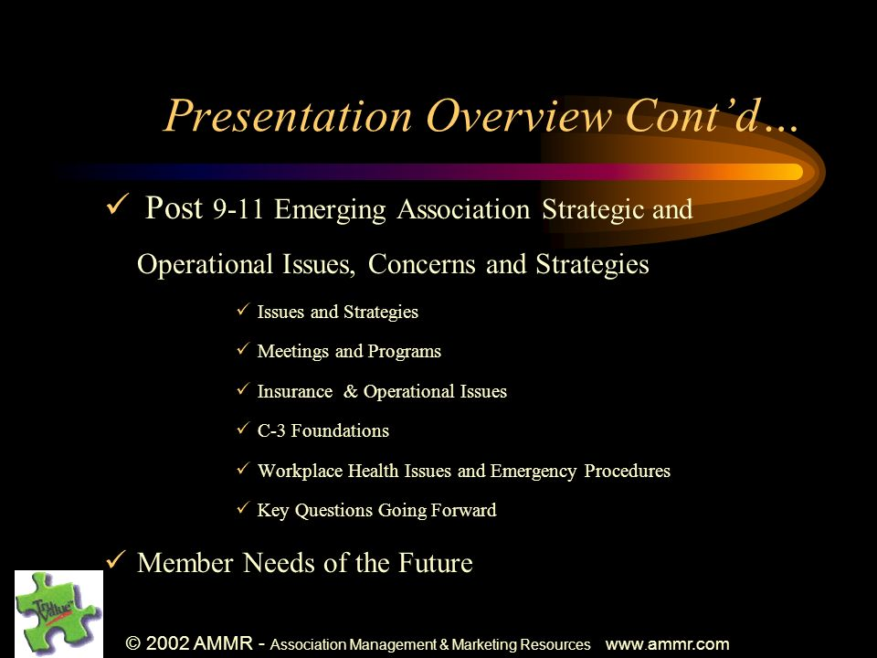 © 2002 AMMR - Association Management & Marketing Resources www. ammr.com Presentation Overview Contd… Post 9-11 Emerging Association Strategic and Ope