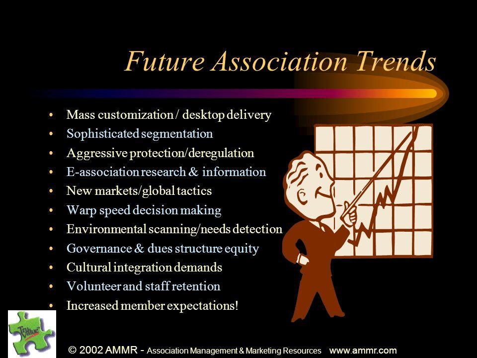 © 2002 AMMR - Association Management & Marketing Resources www. ammr.com Future Association Trends Mass customization / desktop delivery Sophisticated