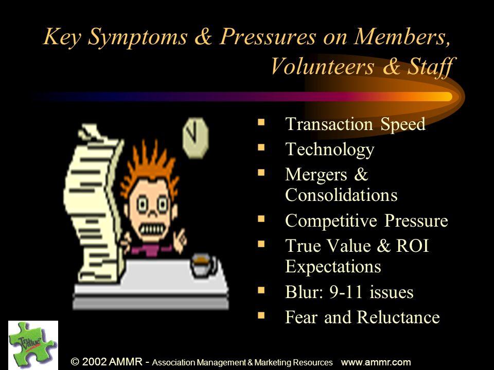 © 2002 AMMR - Association Management & Marketing Resources www. ammr.com Key Symptoms & Pressures on Members, Volunteers & Staff Transaction Speed Tec