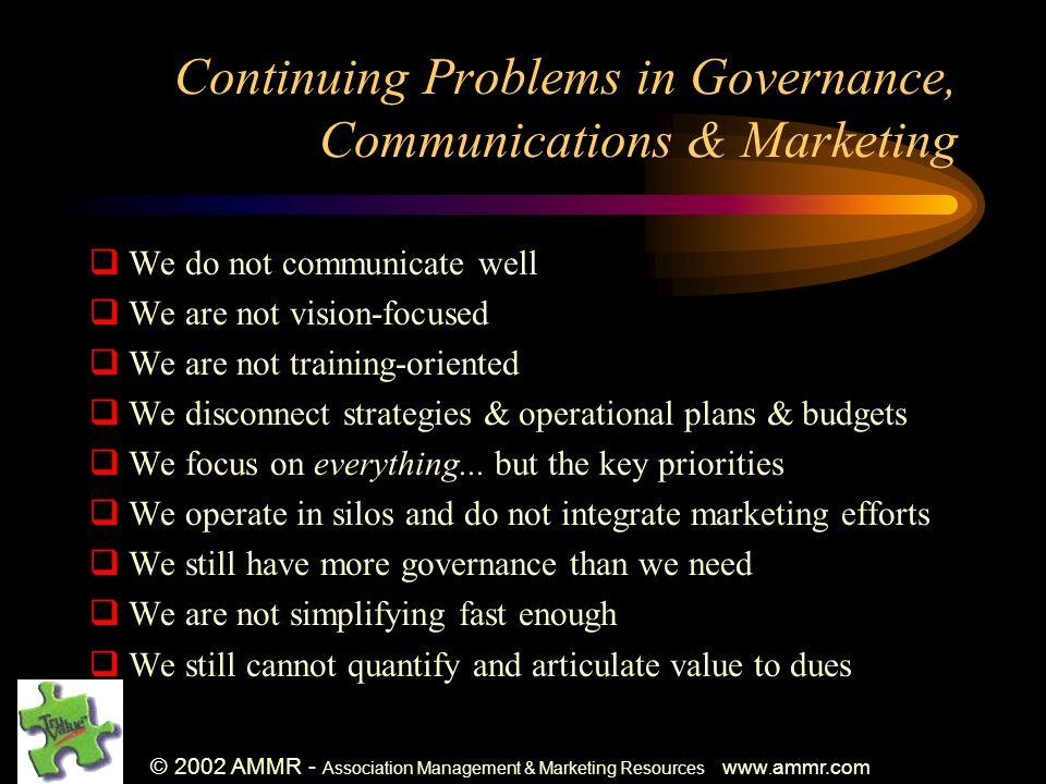 © 2002 AMMR - Association Management & Marketing Resources www. ammr.com Continuing Problems in Governance, Communications & Marketing We do not commu